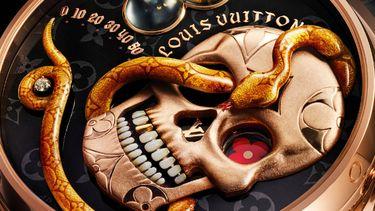 louis vuitton Tambour Carpe Diem, horloge, schedel, slang, tijdweergave