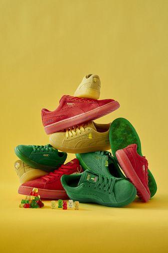 haribo, puma, suede sneakers, gummy bear, hangtag