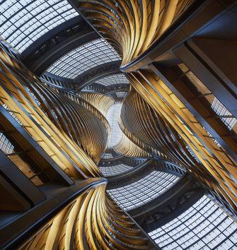 zaha hadid architects, leeza soho tower, fotos, beijing, architectuur, atrium
