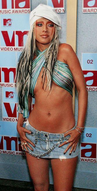 Christina Aguilera, vma's, sexy looks, bloot, 2002