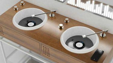 platenspeler badkamer wasbak
