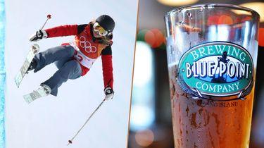 Half-pipe skister Elizabeth Swaney was de slechtste atlete op de Olympische Spelen en een bierbrouwer die bier brouwt genaamd Blue Point wil haar sponsoren