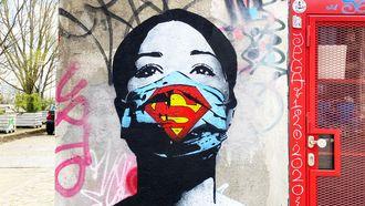 symptoom, gevaccineerden, street-art, coronavirus, blijf thuis, help de zorg, fake, amsterdam