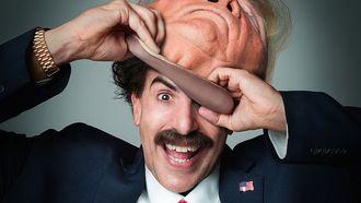 borat, donald trump, griezel, reactie, Sacha Baron Cohen, Rudy Giuliani