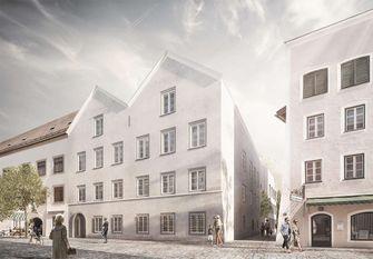 geboortehuis, adolf hitler, braunau, oostenrijk, architectuur, politiebureau