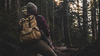 wandelen, hike, stretches, spierpijn, bos, rekoefeningen