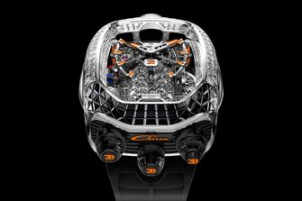 Jacob & Co. Bugatti Chiron Tourbillon Baguette Black and Orange, horloge, nieuw