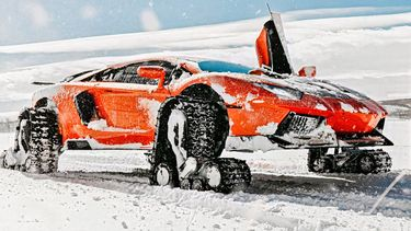 Lamborghini, Aventador, Sneeuw, Rupsbanden